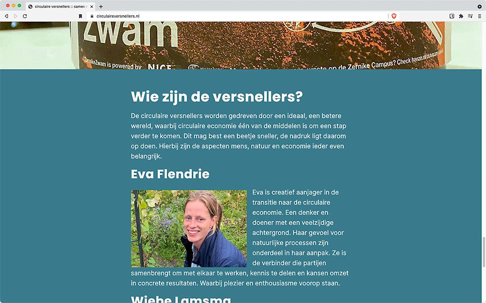 De startpagina van circulaireversnellers.nl