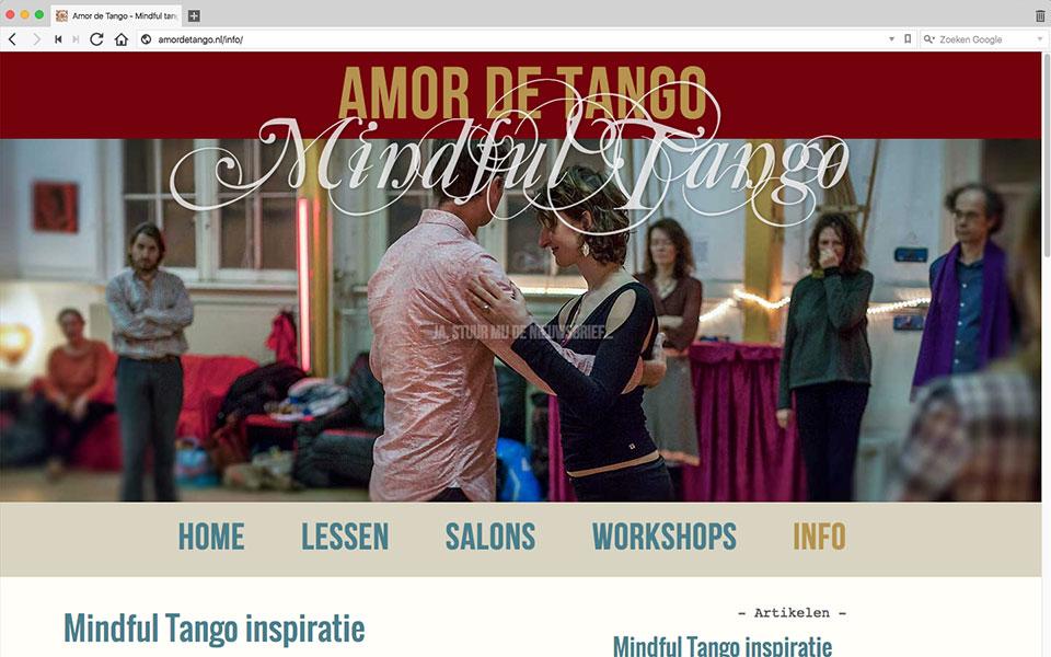 Screenshot van de homepage van www.amordetango.nl