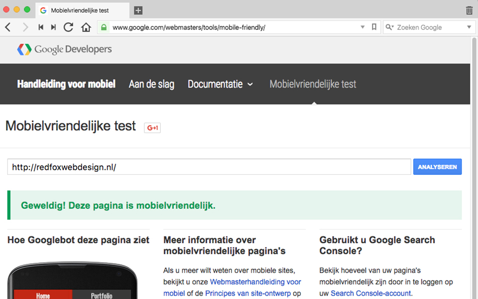 Google's testpagina of een website mobielvriendelijk is