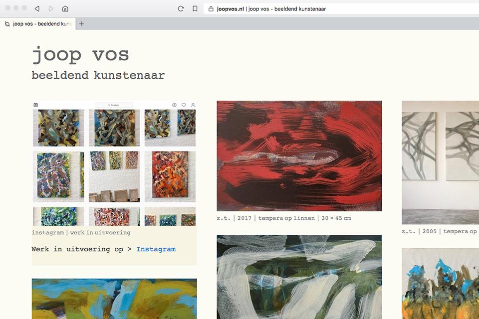 Een screenshot van de homepage op joopvos.nl