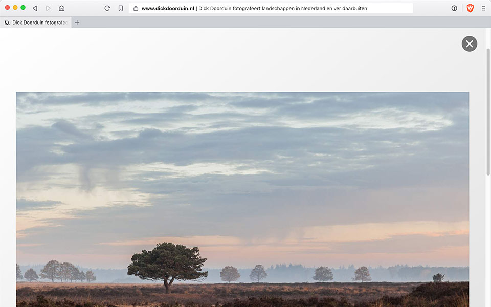 Een screenshot van de homepage van Dick Doorduin, fotograaf.