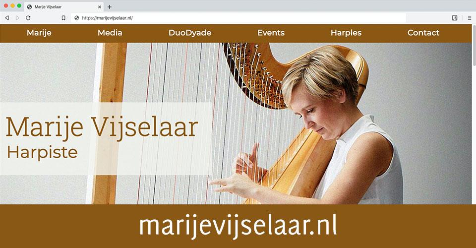 Screenshot van de website van harpiste Marije Vijselaar.