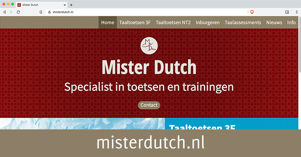 De homepage van Mister Dutch, specialist in toetsen en trainingen.